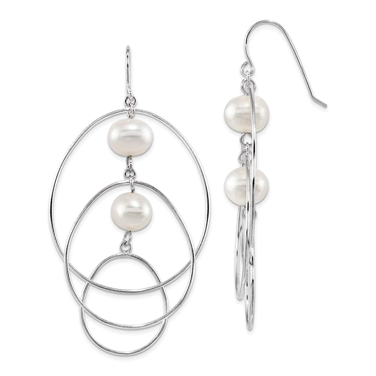 .925 Sterling Silver Rhodium-plated 8-9mm White Round Freshwater Cultured Pearl Dangle Earrings