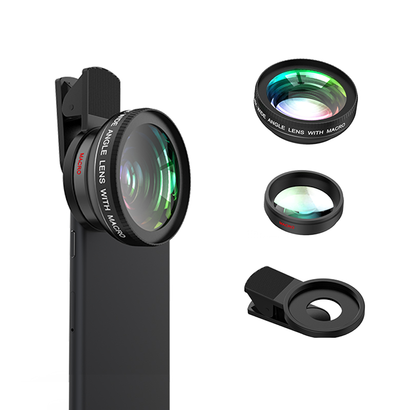 LIEQI 2 In 1 Lens Kit Ultra Wide Angle Lens For iPhone, Black