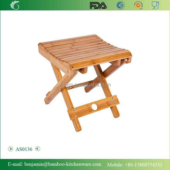 Bamboo Foldable Footstool Fishing Shower Step Square Stool ...