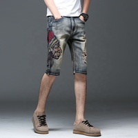 New fabric summer Vintage denim shorts mens embroidered jeans ripped Indian head embroidery pants
