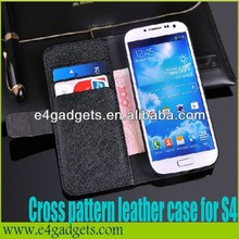 Top selling Cross pattern Genuine leather wallet case for Samsung galaxy S4 i9500,for galaxy s4 wallet case