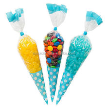 Good quality price cone shaped party favor opp/cpp bags