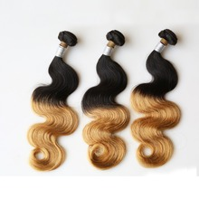 Wholesale 100% Ombre Ocean Wave body Wave Virgin Brazilian Two Tone Hair Extensions Ombre Human Hair