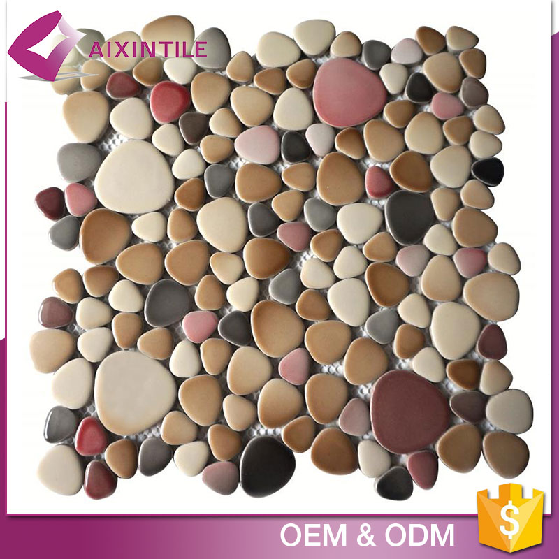China Alibaba Tiles Glass Mix Porcelain Blends Pebble Mosaic