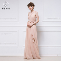 OEM A-Line Sleeveless Pink Wedding Party Dresses Ladies Long Chiffon Bridesmaid Dress