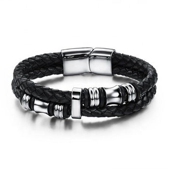 Free Shipping 316L Stainless Steel Jewelry Magnetic Bracelet Men's Leather Bracelet