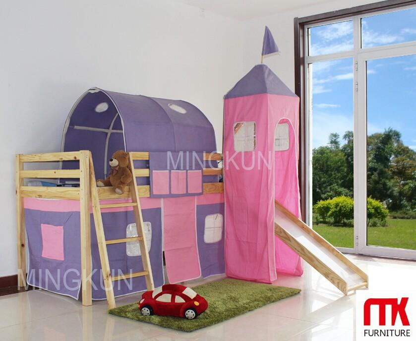 Letti A Castello Con Scivolo : Legno principessa letto a soppalco con scivolo e giocare tenda