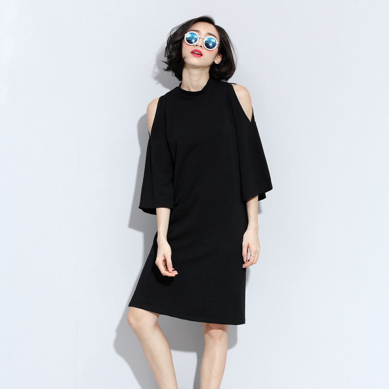 3a133b64ddf Get Quotations · 2015 New Autumn and Winter Casual Strapless Plus Size  Cotton Dresses half Sleeved for Large Size