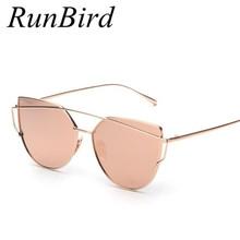 RunBird Mirror Flat Lense font b Women b font Cat Eye font b Sunglasses b font