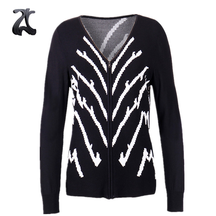 Moda Preto V Neck Zip Up Manga Comprida Cardigan Sweater para Mulheres