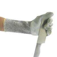 Long HPPE Anti cut resistant proof work hand gloves Sewing with leather on palm level 5