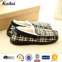 fashionable very high quality winter plaid cloth man casual shoe