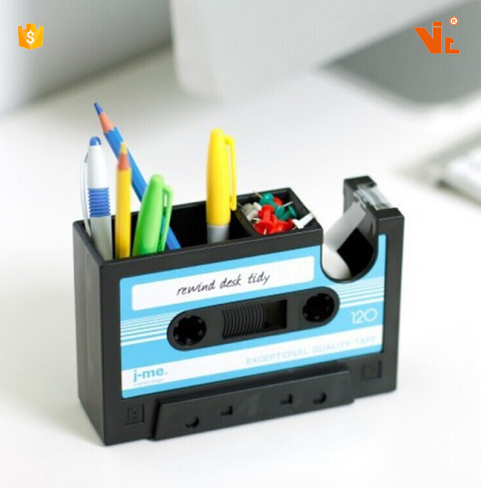 V-P 11 Creative fashion wholesale cassette tape shaped pen holder Multi-function Plastic pen pencil holder desk organizer