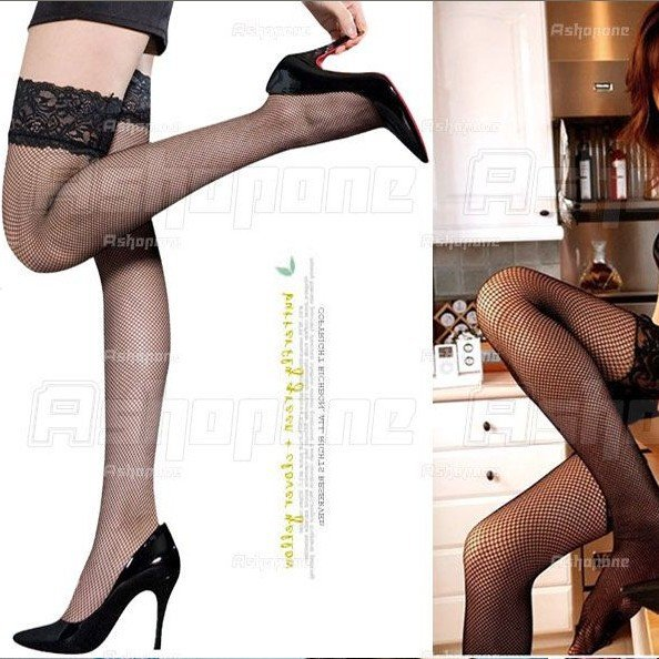 9f97595fe0f Get Quotations · Wholesales New Fashion Sexy Black Color Lace Fishnet Net  Thigh High tights Stockings pantyhose Free Shipping
