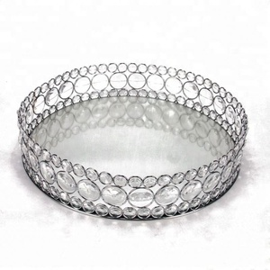Round Silver Plated Designer Food Serving Mirror Trays