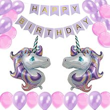 Unicorn Birthday Party Decorations- Huge Unicorn Balloons Happy Birthday Banner 12inch Party Balloons Kit for Baby Shower
