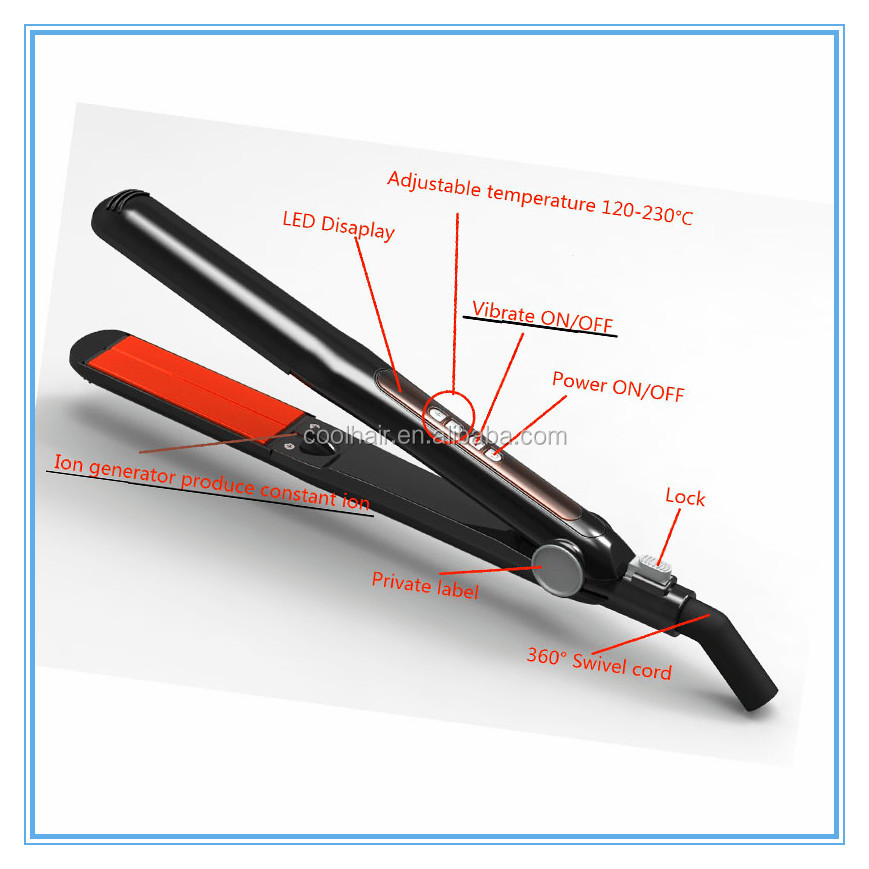 Classic black Vibrating Curved Edge Titanium Flat Iron 230C