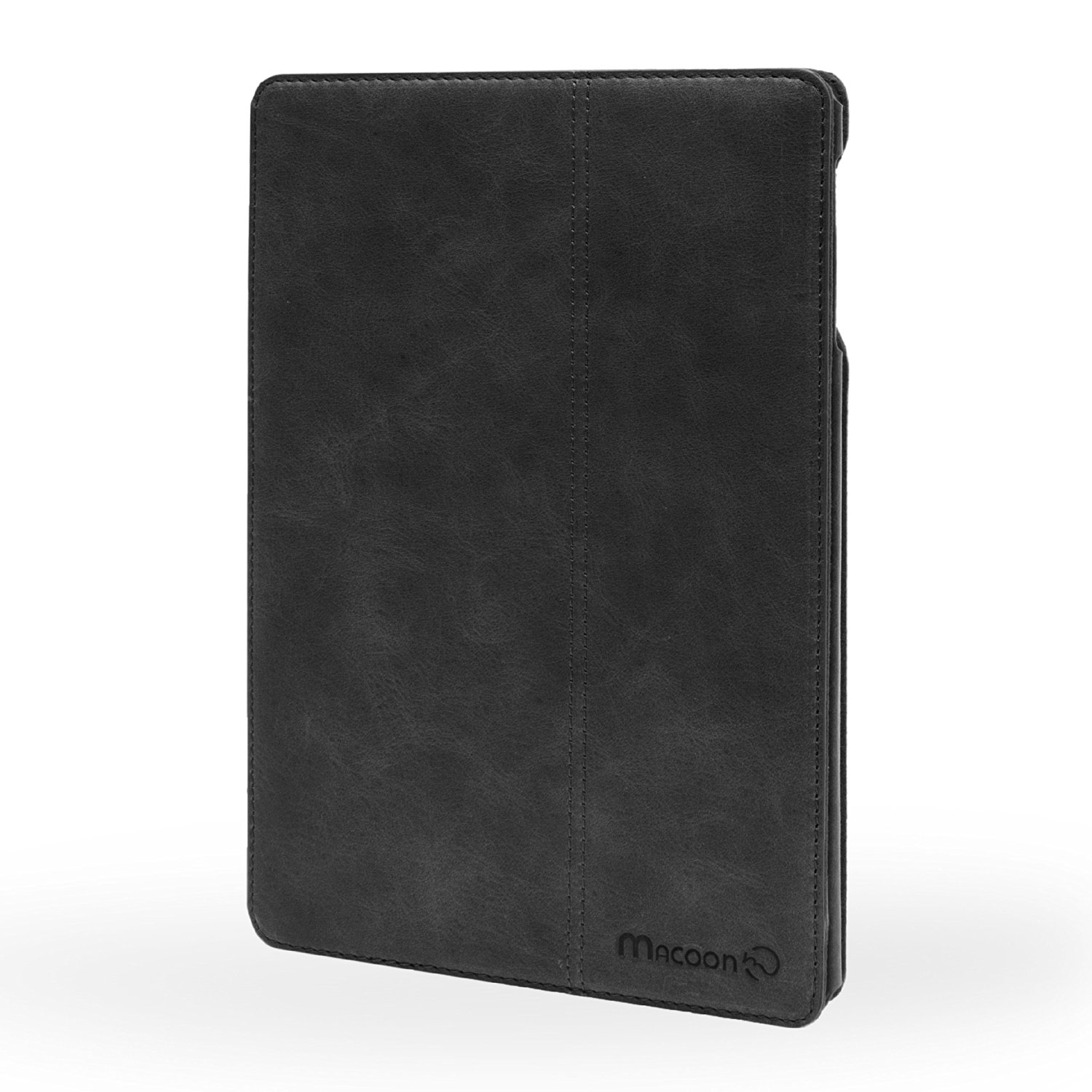 MACOON iPad Air 'Smart Traveler' leather case is made of 100% cowhide genuine leather case shell sleeve, color: black