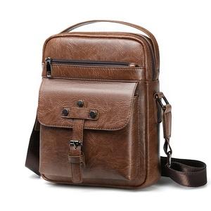 2019 New Vintage Casual shoulder Sling Bag Men Satchel Waterproof PU leather Crossbody Messenger Bag for man