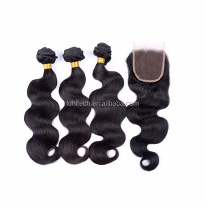 wholesale black hair free parting lace closure natural hair line body wave 4*4 virgin brazilian hair free parting lace closure