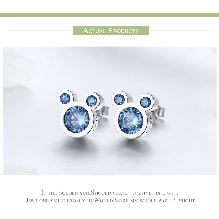Best Quality 925 Sterling Silver Blue CZ Earring Studs With Mickey Mouse Design