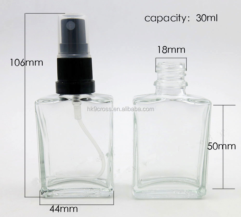 1oz Perfume/Cologne Atomizer Empty Refillable Glass Bottle Black Tamper Evident Sprayer 30ml