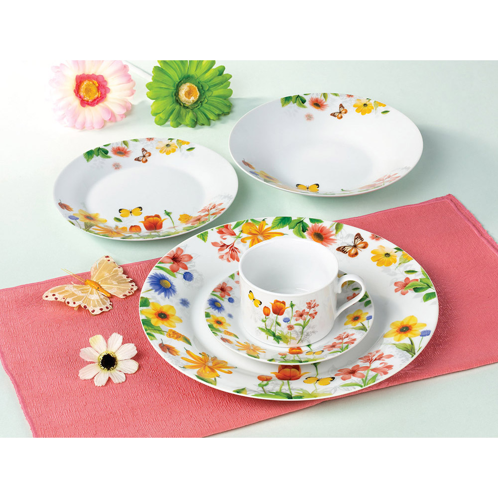 High Quality 20Pcs Ordinary White Porcelain Breakfast Dinnerware Set