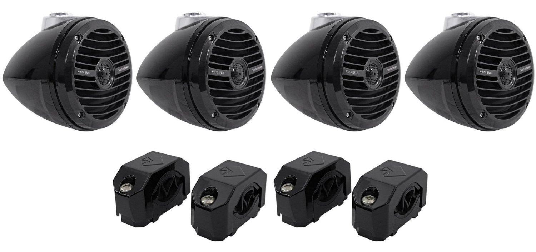 "Package:(2)Pairs of Rockford Fosgate RM1652W-MB 6.5"" Mini Wakeboard Tower Speakers 600 Watt in Black(2)Pairs of Rockford Fosgate Punch PM-CL2B Marine Diecast Mini Wakeboard Tower Clamps In Black"