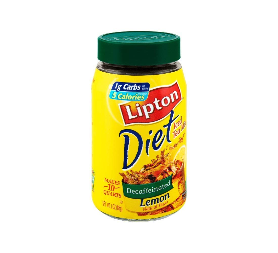 Lipton Diet Decaffeinated Lemon Sugar Free Iced Tea Mix, 3 OZ (Pack of 4)