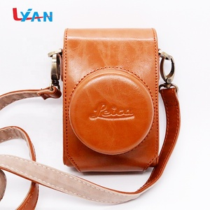 Custom Brown Color PU Leather Camera Carrying Case Bag for with Strap