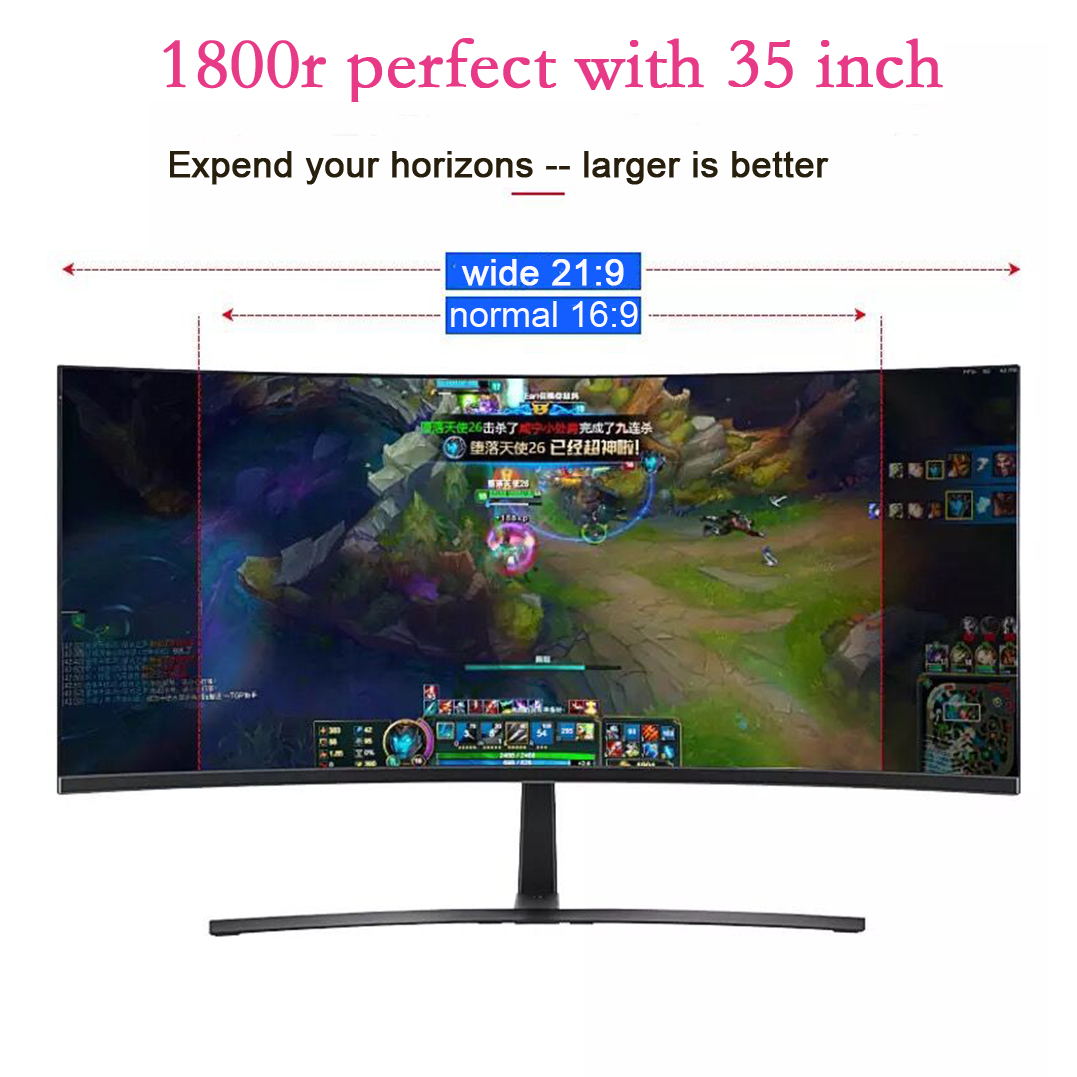 QHD 35 inch 1800R curved computer monitors 21:9 gaming pc monitor DP