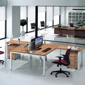 2 Seat Office Furniture Desk With Iron Legs For People