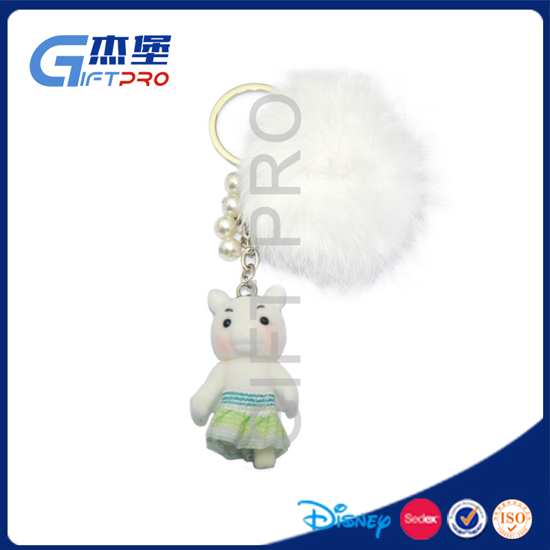 2017 new style high quality china doll keychain 3d fur animal for baby toy