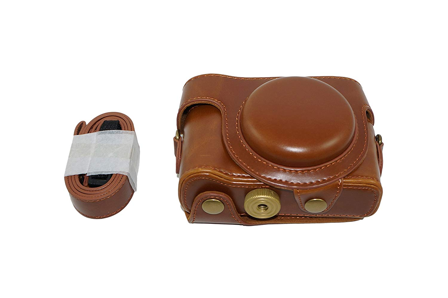 Protective PU Leather Camera Case Bag with Tripod Design Compatible For Sony Cyber-shot DSC-HX60V HX60V with Shoulder Neck Strap Belt Brown
