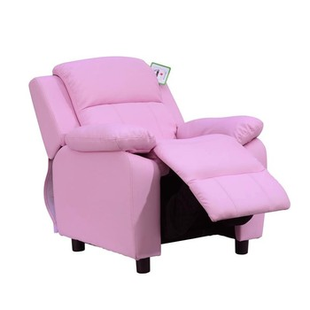 Childrens Recliner Armchair W/ Storage Space on Arms-Pink