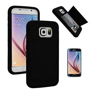 Galaxy S6 Case, Fashion [Dual Layer] [Slim Fit] [PC + TPU / Rubber] 2-Piece Style [Hidden Credit Card Cash ID Holder Slot Case] [Stand Function] Hybrid Rugged Hard Combo Case for Samsung Galaxy S6 S VI G920 9200 + Screen Protector (Black)