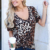 Summer fashion Short-sleeved fancy leopard print loose T-shirt