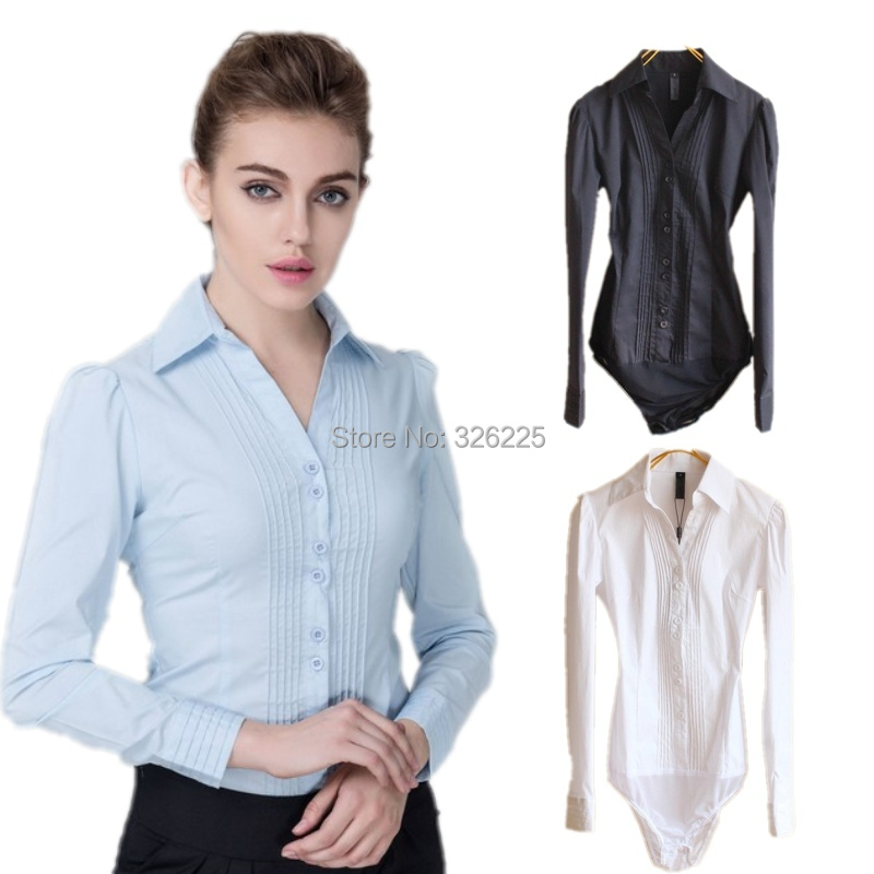 cf851f8d56 Get Quotations · New Brand womens elegant blusa long sleeve solid button  down formal office body shirts blouses for