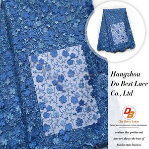 Wholesale african french popular royal blue embroidery beaded net lace fabric