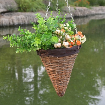 Wall Mounted Hanging Wicker Basket Cone Shape