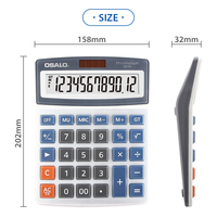 Hot Selling 12 Digit Electronic Brand OSALO 12Year Desktop Solar Calculator with LCD Display for office