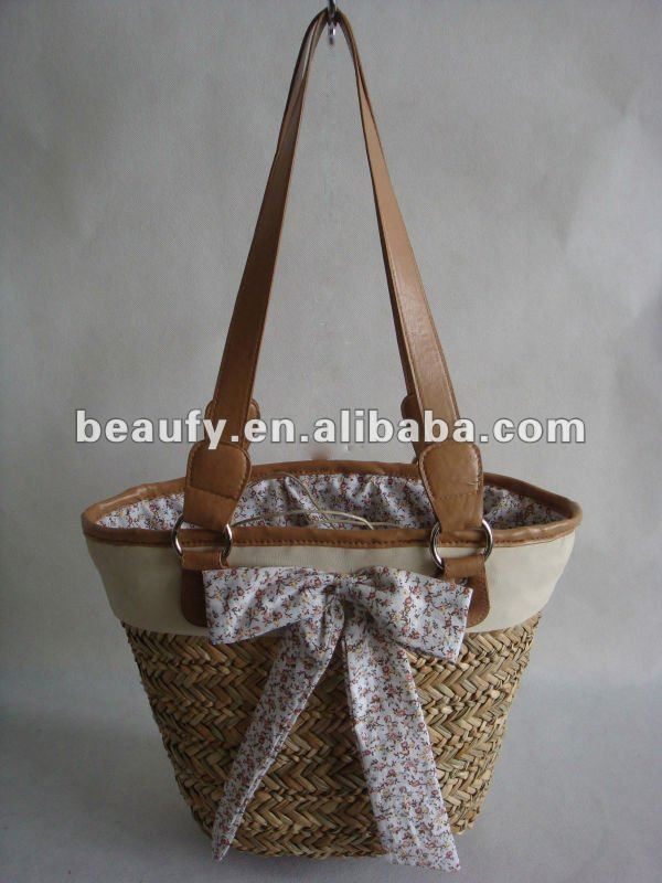 White Patent & Brown Leather Straw Purse Bag