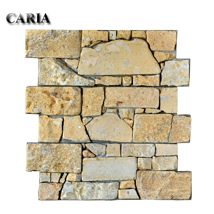 beige cluture stone artificial rock face wall cladding stone