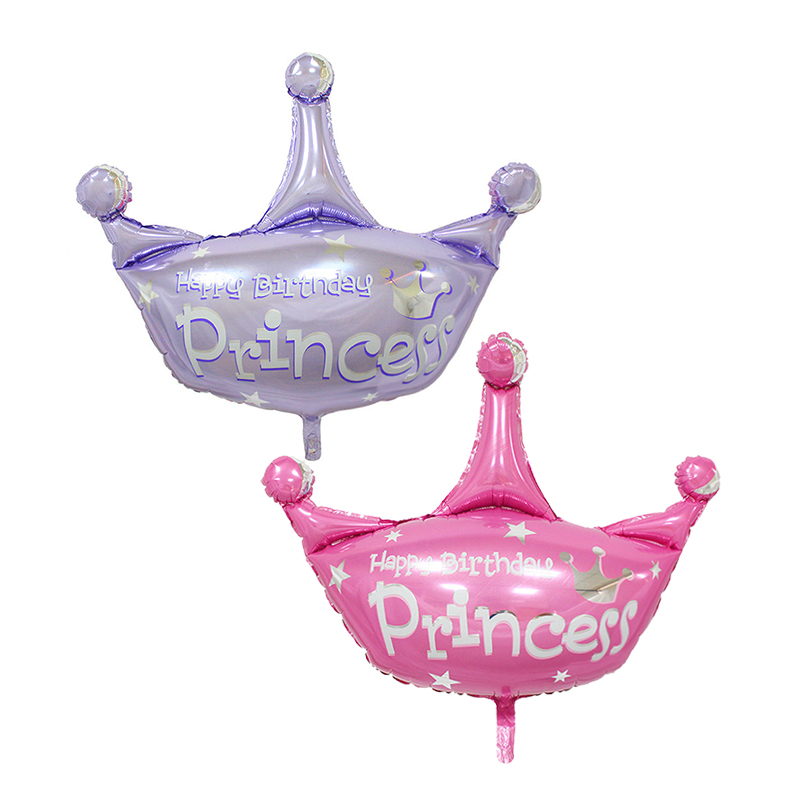 pink and purple blue helium balloon princess crown foil balloons for happy birthday wedding party decoration