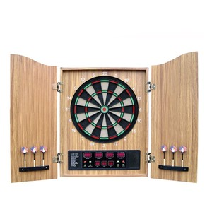 Luxury Sisal/Bristle Steel Tip Dartboard & Cabinet Bundle Wood Case