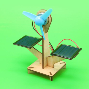 Educational creative Wooden handmade DIY science solar fan toys for children