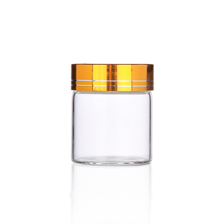 50ml glass herb jar gold airtight cap clear glass bottle for weed small designer glass