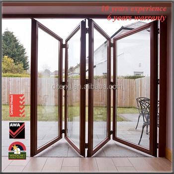 Wood Interior Folding Doors Horizontal Double Glazed Glass Doors China Aluminium Bi Folding