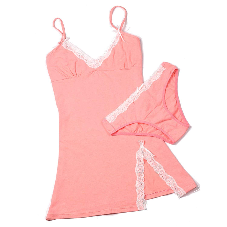 6ad98647b49 Get Quotations · Penin Cotton Nightgown Women Lace Nightdress Briefs Set Sleepwear  Sexy Split Mini Sleeping Dress V-