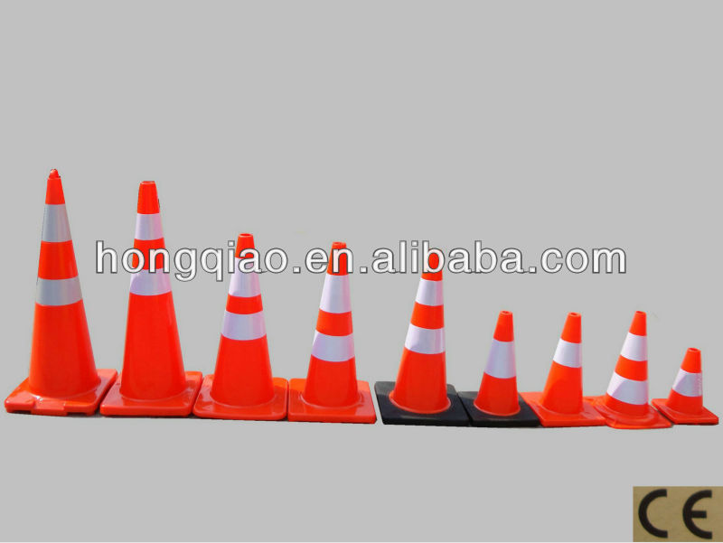 28 Inch Black Base Wide Interlock PVC Traffic Cone
